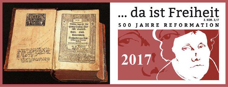 Bild: zweigeteilt. links: aufgeschlagene Luther-Bibel von 1534 auf schwarzem Grund. Rechts: Logo des Reformationjubiläum mit Luther; Quelle: Lutherbibel-gemeinfrei